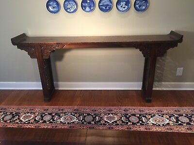 Early 19th Century Chinese Dragon Carved Elm Wood Altar Table