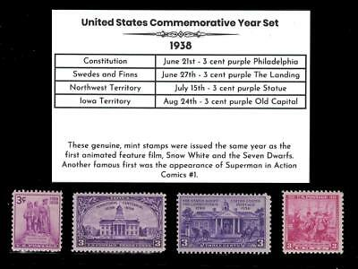 1938 US Postage Stamps Complete Commemorative Year Set Mint