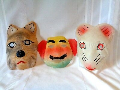 3 Vintage Halloween Masks Cheesecloth Gauze Mouse Tiger Clown Man bright colors