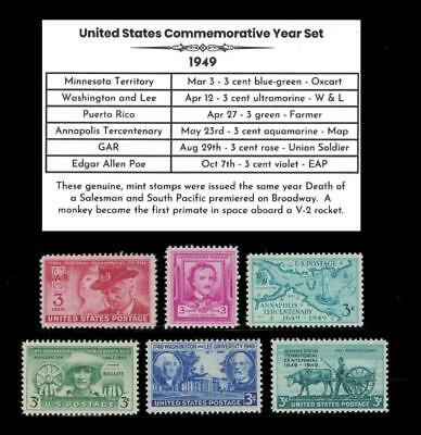 1949 US Postage Stamps Complete Commemorative Year Set Mint