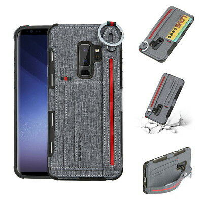 Luxury Card Slot Hand Strap Canvas TPU Case Cover For Samsung S9 S8 Plus Note 8