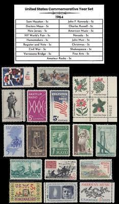 1964 US Postage Stamps Complete Commemorative Year Set Mint