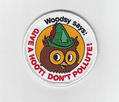 New Woodsy Owl patch vintage design Give a Hoot, Don't Pollute