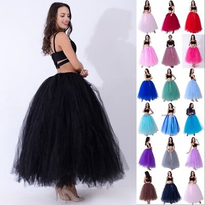 Layers Long Women Tulle Tutu Skirt Petticoat Wedding Bridal Dress Ballet Dance