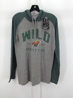 MINNESOTA WILD - Mens Grey and Green Raglan Long Sleeve Hooded Shirt - NHL-NEW