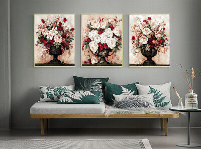 Set of 3 Framed Acrylic Painting by Number White & Pink Roses A0 Canvas Wall Art