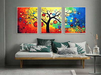 Set of 3 Framed Acrylic Painting by Number  Legendary Tree A0 Canvas Wall Art