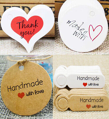 MADE WITH LOVE Round Paper Tags PRICE LABELS WHITE / BROWN Craft Gift Tag