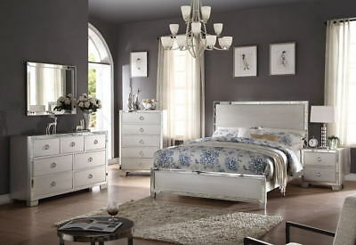 4pc Queen Size Bedroom Set Platinum w/ Mirror Trim Inlay Bed Transitional Style