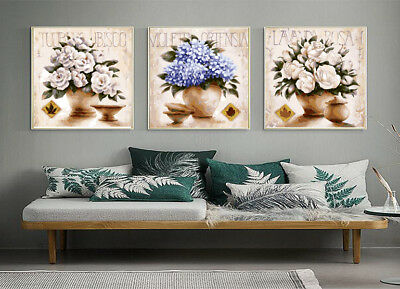 Set of 3 Framed Acrylic Painting by Number Flowers in Vase Canvas Wall Art XXL