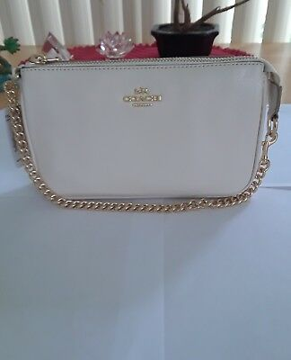 New! Authentic Coach Leather Wristlet Chalk/Gold chain.