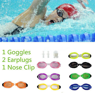 Water Sports Swim Swimming Training Goggles Set with 2 Earplugs & 1 Nose Clip