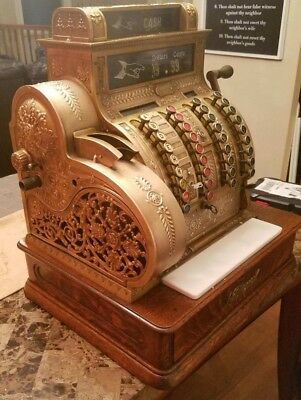 Antique Collectible 1911 National Brand BRASS cash register model 442