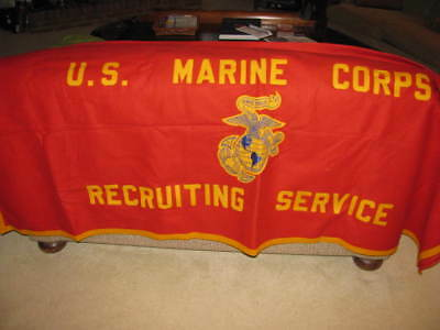 "US MARINE CORPS RECRUITING SERVICE Table CoverBanner circa 2008 70""x81"" Post WW2"