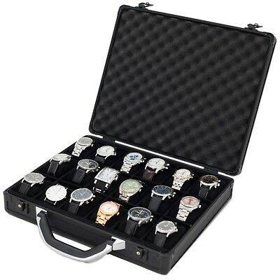 18 Watch Case for Collectors Briefcase Style Store Black Aluminum Textured