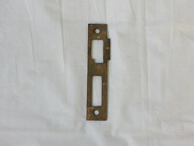 "Antique Solid Brass Mortise door bolt lock latch strike plate 4 1/2"" old patina"