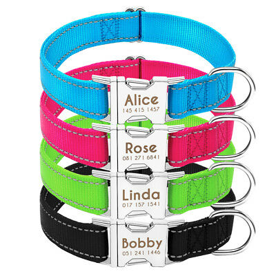 Personalised Dog Collars Reflective Free Engraved Pet Puppy ID Name Collar Tag