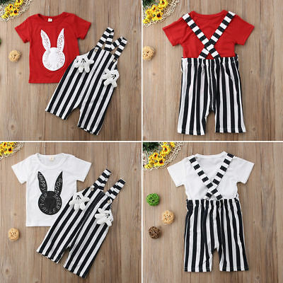Toddler Kid Baby Girl Boy Short Sleeve T-shirt Top+Overalls  Outfits Set 6M-3Y