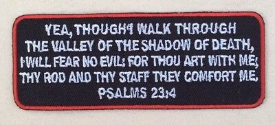 Psalms 23-4 Patch Iron On Embroidered Bible Jesus Verse MC Christian Red