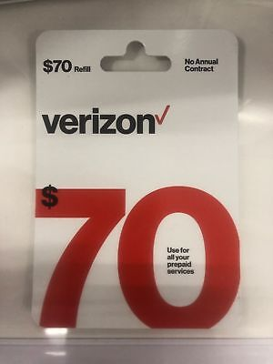 $Verizon Wireless- $70 Refill,  Top-Up Airtime Card for Verizon Prepaid Service