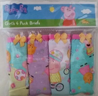 PEPPA PIG Licensed 4x briefs undies knickers gold bow cotton NEW sizes 3-6