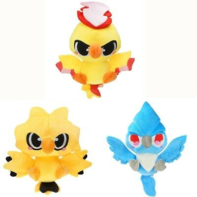 Pokemon Center Red And Green Version Moltres Zapdos Articuno Soft Plush Doll Set