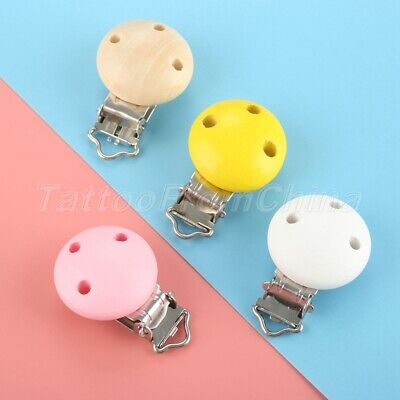 4 Color Wooden 3 Hole Baby Pacifier Clips Infant Soother Clasps 5/10/50/100pcs