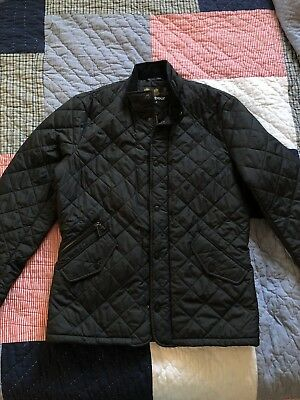 BARBOUR Fitted CHELSEA SPORTSQUILT Quilted Navy Jacket size S MQU0006NY51