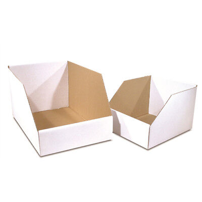 "100 - 12x18x10"" Jumbo Open Top Bin Box - White Corrugated One Piece Construction"