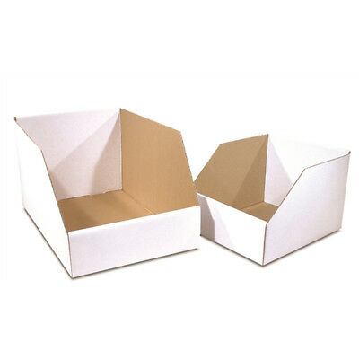 "100 - 10x12x8"" Jumbo Open Top Bin Box - White Corrugated One Piece Construction"