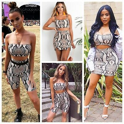 Beige Snake Skin Print Bandeau Crop Top and Cycling Shorts Co-ord Two Piece Set