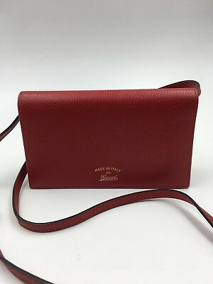 b5cd654fae73 NEW GUCCI ICON Leather Wallet with Strap Shoulder Bag Crossbody ...