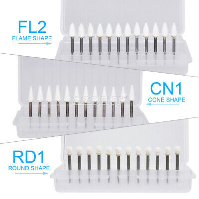 Dental White Stone Porcelain Resin Handpiece Polishing Burs FG Cone /Flame/Round