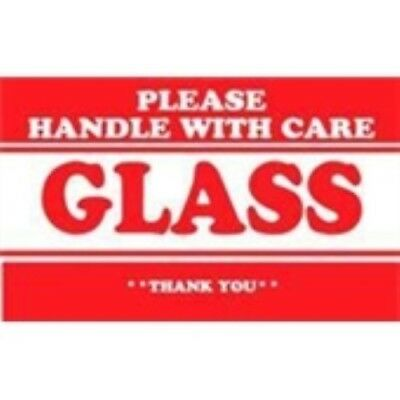 """1000 - #DL1279  2 x 3""""  Please Handle with Care Glass Thank You Label"""