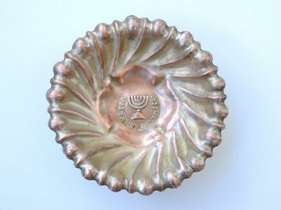 Jewish Antique Vintage Israel Brass Copper Engraved Old Judaica Candy Dish Plate