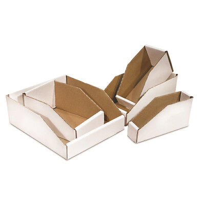 "50 - 6 x 24 x 4 1/2"" Open Top Bin Box - White Corrugated One Piece Construction"