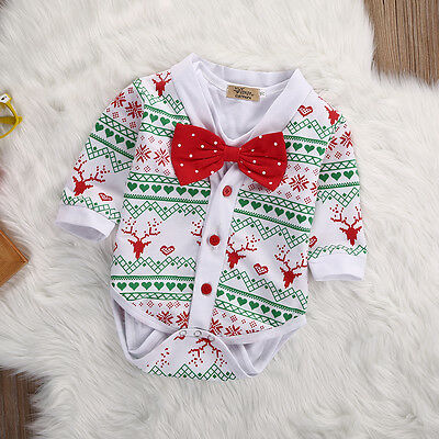 US Newborn Infant Baby Boy Snowflake Coat+Rompers Bowtie XMAS Outfits Costume