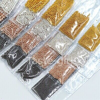 Mixed sizes gold silver micro 3d metal nail art decorations alloy caviar beads