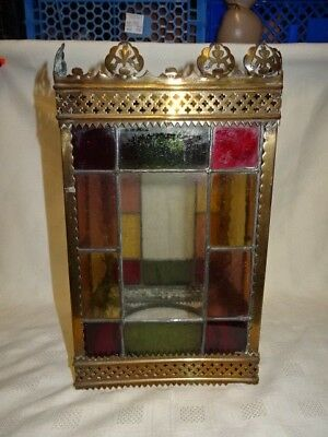 ANTIQUE LEADED STAINED GLASS LANTERN LAMP ceiling light chandelier vintage shade