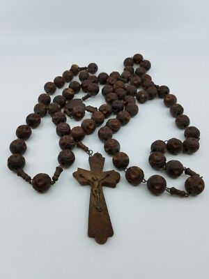 antique French rosary beads large carved marked and signed wooden good...