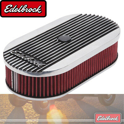 "Elite 2 Series Polished Oval Air Cleaner For Single 4-bbl Carb - 2.5"" Element"