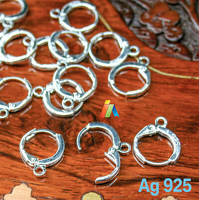 925 SILVER STAMPED LEVER BACK EARWIRES 13mm ROUND HOOP EARRING Jewellery Findind