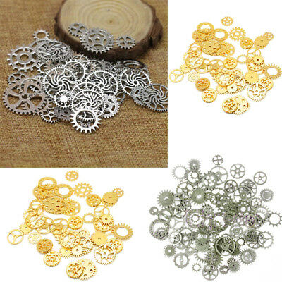 100 Metal Steampunk Cogs and Gears Clock Hand Charm Mix Watch Part Clock Craft