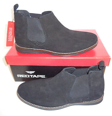 New Red Tape Leather Boots Black Corran Mens Suede Dealer Chelsea UK Sizes 6 7 8