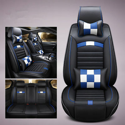 Car Seats Cover Front+Rear 5-Seats PU Leather Cushion w/Pillow All Season Blue