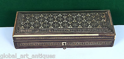 Rare Old Indian Wooden Jeweler/Trinket Box Mother Of Pearl Fitted. G62-162