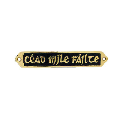 Small Solid Brass Wall Plaque With Cead Mile Failte On Black