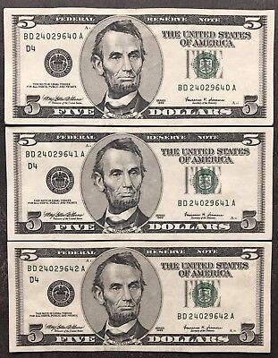 USA 3X 5 Dollar Series 1999 Consecutive Numbers Selten Banknoten ...