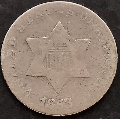 1853 Three Cent Piece Silver Trime 3c mid grade 4865