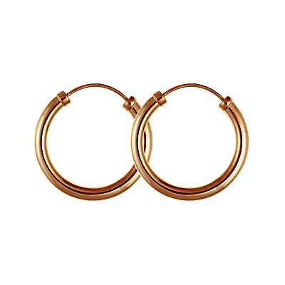 9ct Rose Gold Hoop Earrings Men S Women 18 X 2 5mm Quality Uk 375 Stamped New